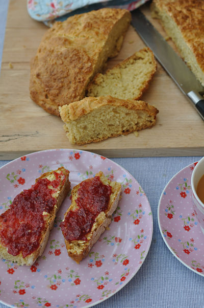 White Soda Bread with Butter and Jam