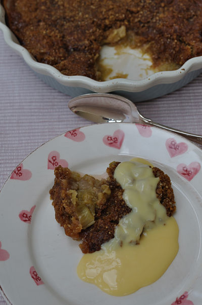 Rhubarb Crumble with Custard