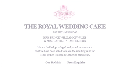 Royal Wedding - Cake Announcement Fiona Cairns