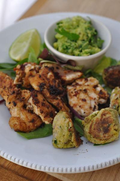 Ras El Hanout Spiced Chicken & Chickpea Dumplings with Avocado Mash
