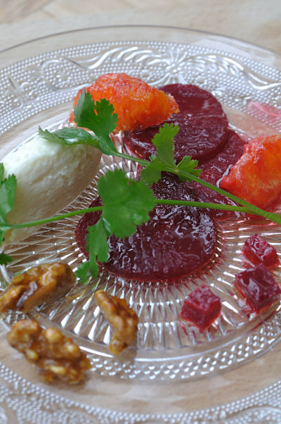 Beetroot & Goats Cheese on Glass Plate