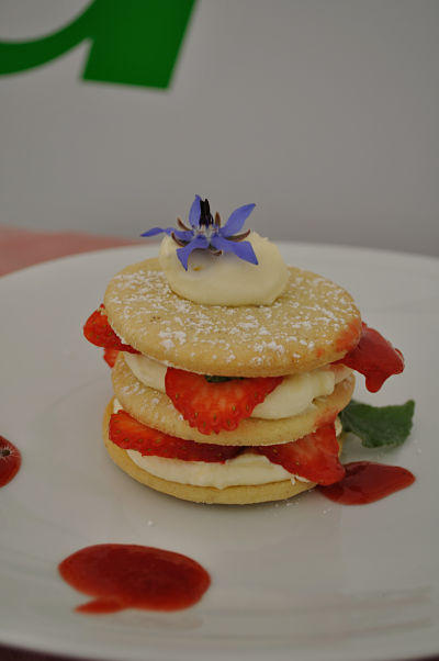 Strawberry Shortcake with Borage and Crossogue Strawberry Coulis - Sarah Baker
