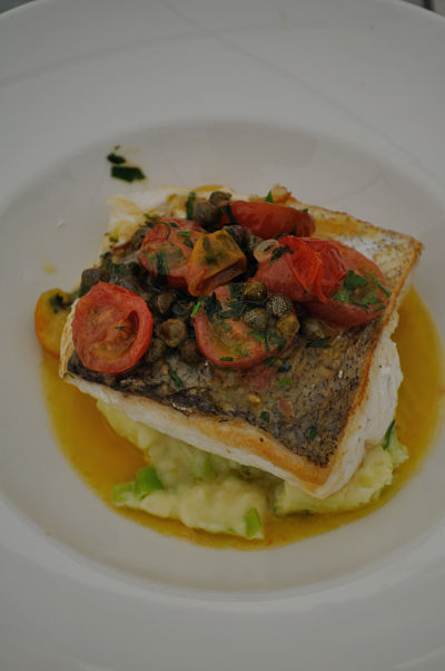 The River Lee Hotel Panfried Hake with Tomato and Caper Butter