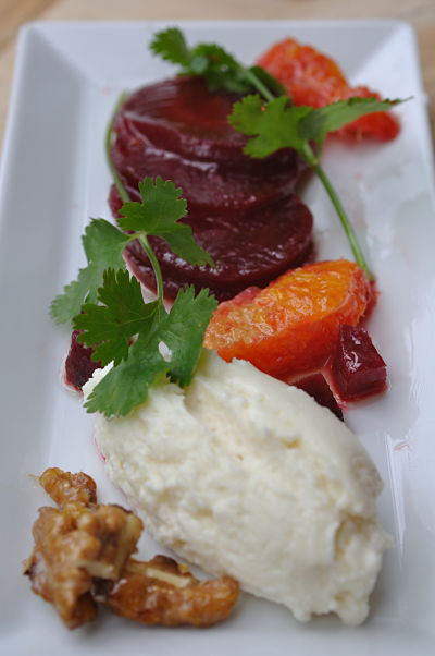 Beetroot and Goats Cheese on white plate
