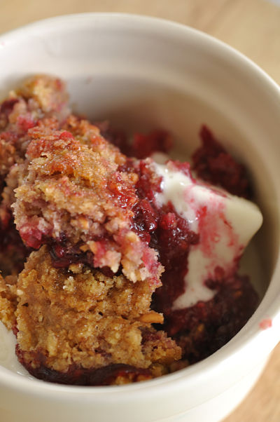 Apple & Blackberry Crumble with ice-cream
