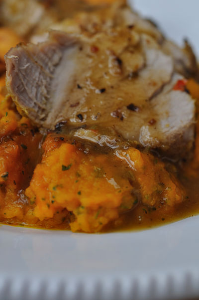 Thai scented pork steak with carrot & coriander puree