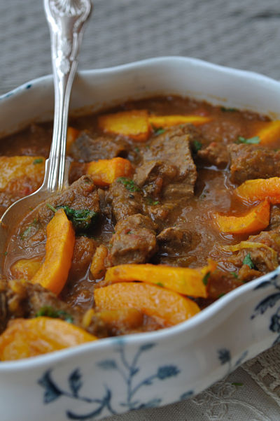 Beef Curry & Butternut Squash with spoon