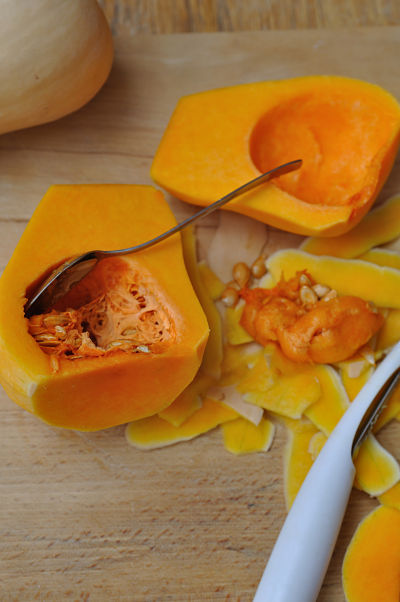 Butternut Squash Halved and Scooped