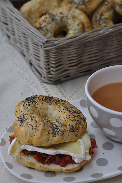 Bagel, Cooleeney Brie & Semi Sundried Cherry Tomatoes