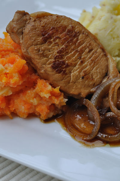 Pork & Cranberry with carrot, parsnip & apple mash