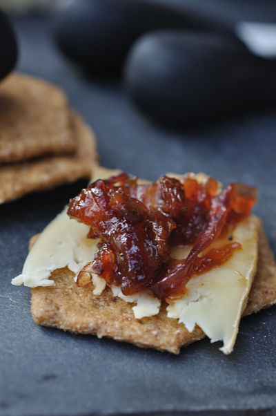 Chutney with cheese on cracker