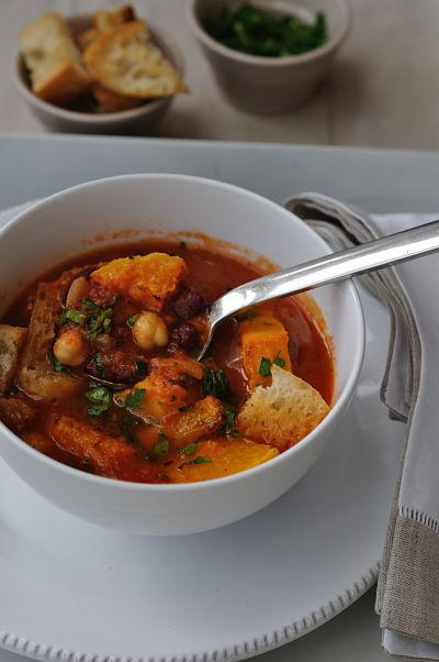 Roast Squash & Legume Soup spoonful