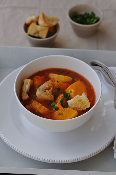 Roast Squash & Legume Soup with Ciabatta Croutons