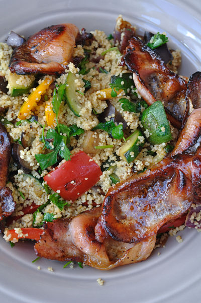 Honey Glazed Rashers on Lemony Vegetable Couscous from above