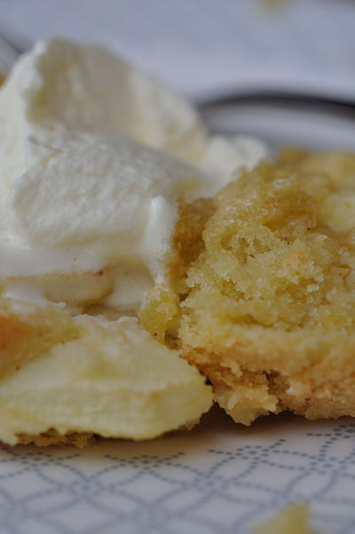 Apple & Almond Tart with Cream close up