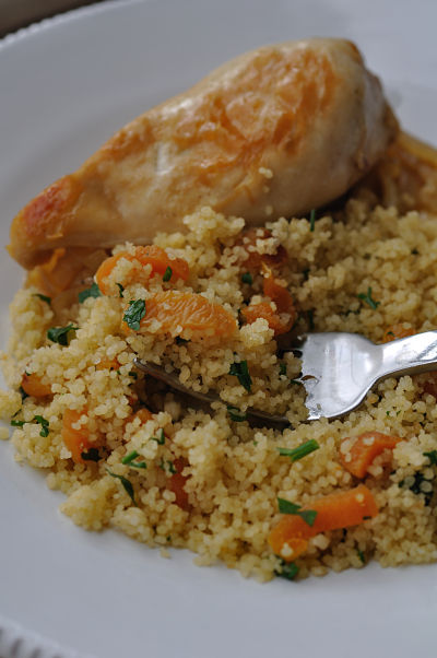 Apricot CousCous on fork