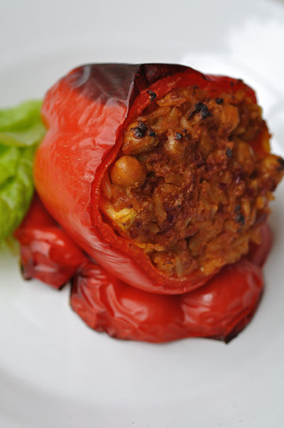 Chermoula Spiced Chickpea Stuffed Pepper