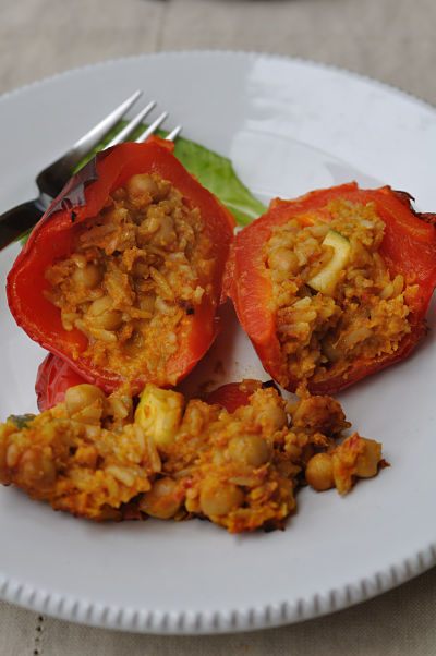 Stuffed Pepper Sliced in Half