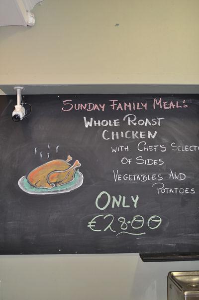 Sunday Roast Sign on Blackboard at The Mills Restaurant Blarney