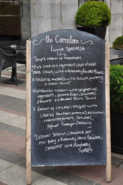 Lunch menu at The Cornstore Cork
