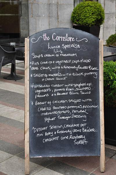 Lunch menu at The Cornstore Cork