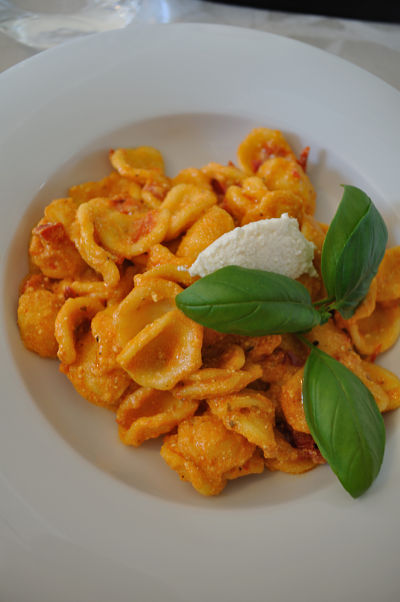 Orecchiette with Spicy Roasted Pepper Pesto and Ricotto by Vittoria restaurant