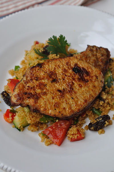 Harissa Pork Chop on Couscous