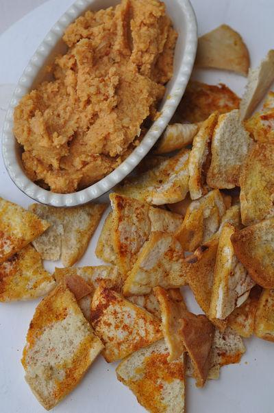 Harissa Hummus with Spicy Pita Chips
