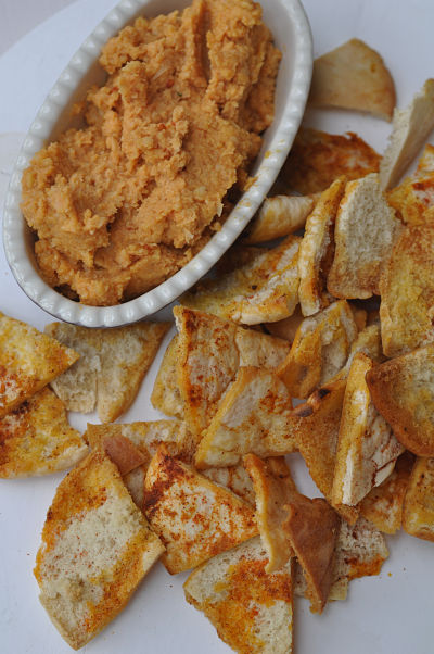 Harissa Hummus with Spicy Pita Chips