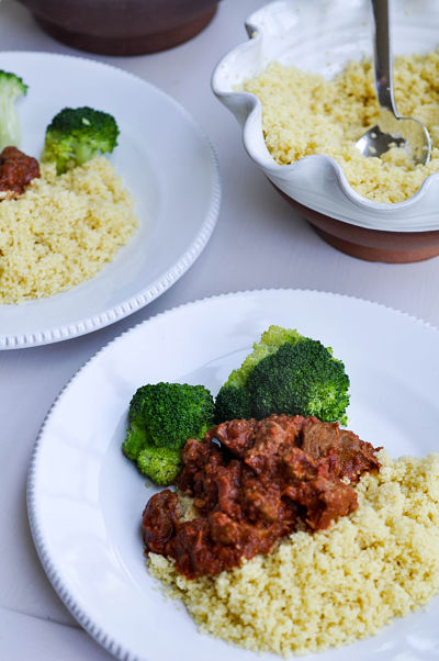 Moroccan beef stew with couscous