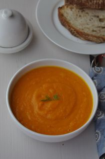 Carrot and fennel soup close-up