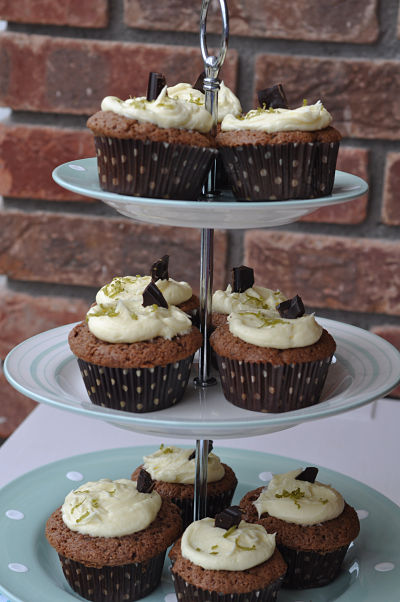 Stack of Zesty Lime Choc Cupcakes