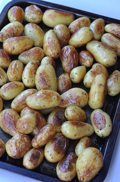 Tray of Roasted Baby Potatoes