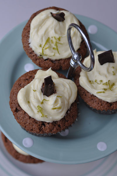 Zesty Lime Choc Cupcakes from above