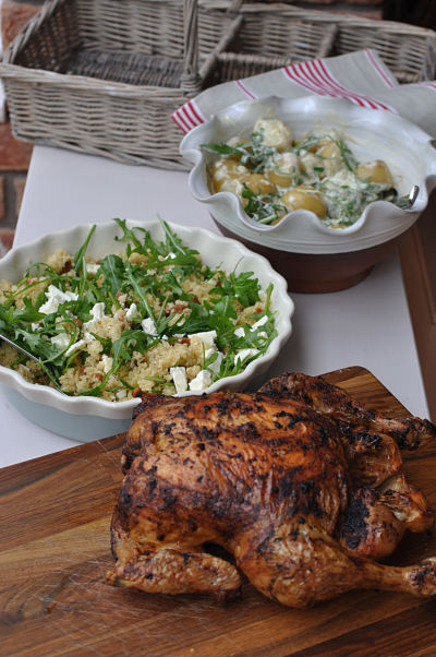 Roast chicken and salads