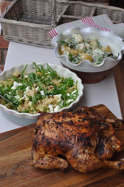 Roast chicken and salads