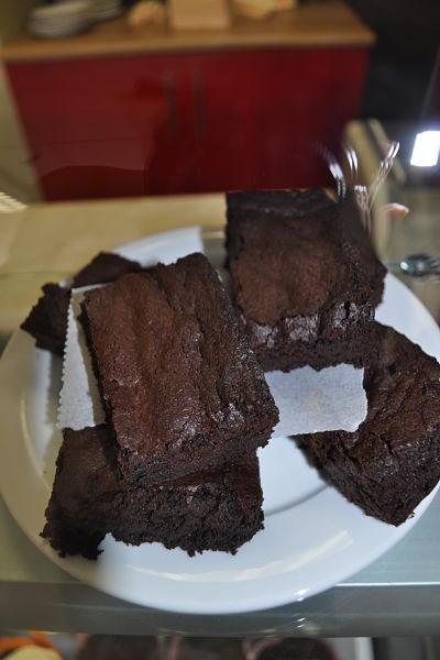 Freshly baked brownies at Along the Way