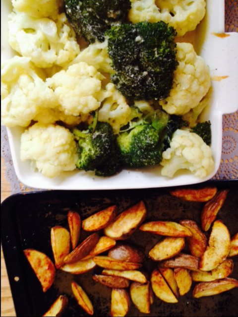 Golden Wedges and Cheesy Veg