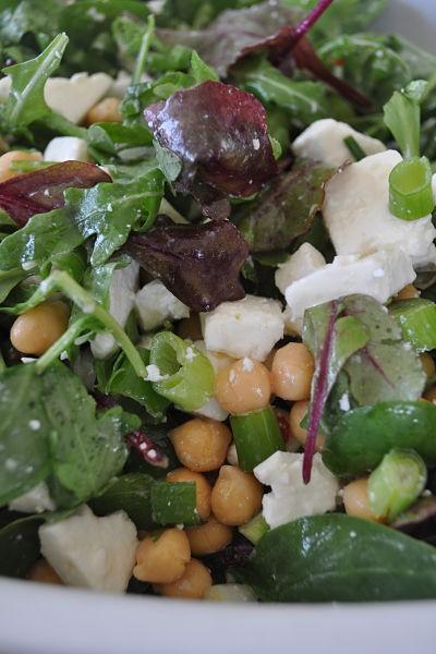 Feta and chickpea salad close-up