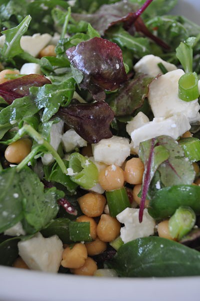 Feta and chickpea salad close-up