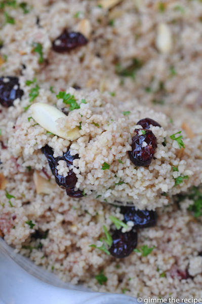 Spiced Cranberry Christmas Couscous on spoon from topSpiced Cranberry Christmas Couscous