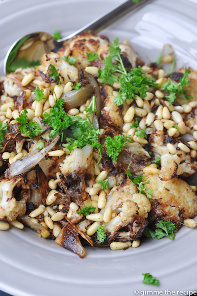 Roast cauliflower and shallot feature