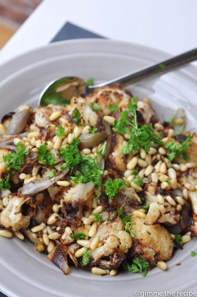 Roast cauliflower and shallot