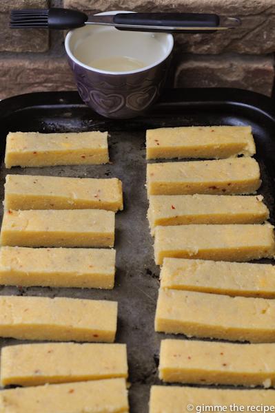 Cumin and Chilli Polenta Chips Cut