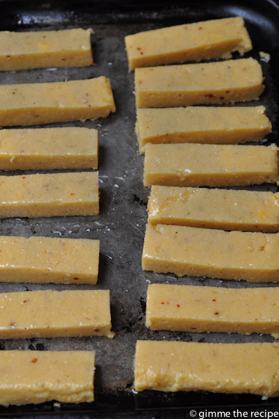 Cumin and Chilli Polenta Chips Oiled