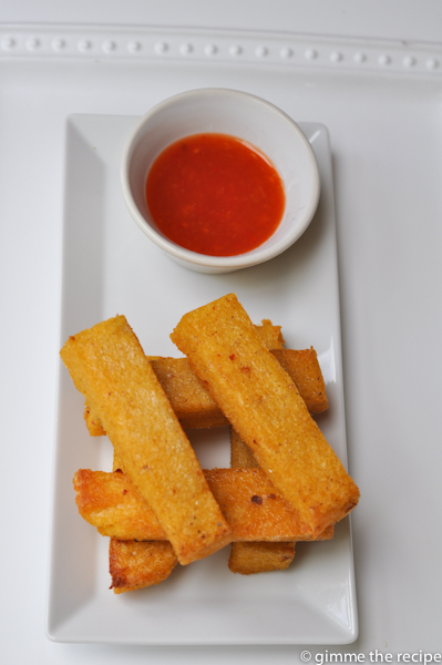 Cumin and Chilli Polenta Chips with rebel chilli sauce