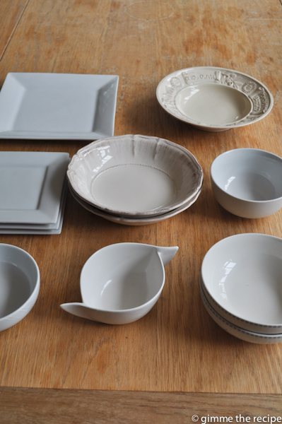 small bowls and square plates