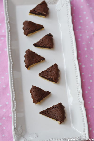 Chocolate tartlets bitesize on platter