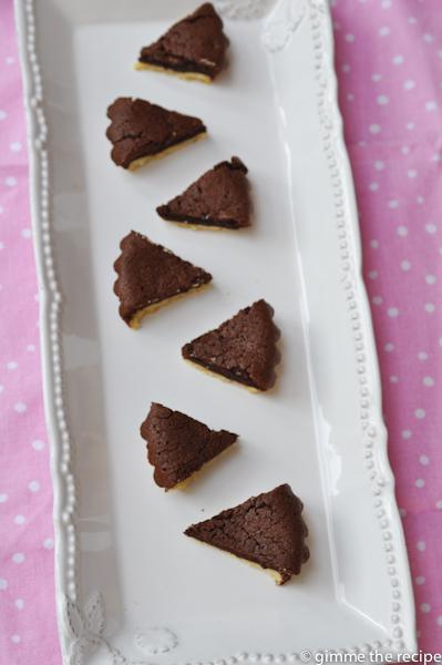 Chocolate tartlets bitesize on platter