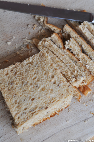 Crusts off bread for melba toast